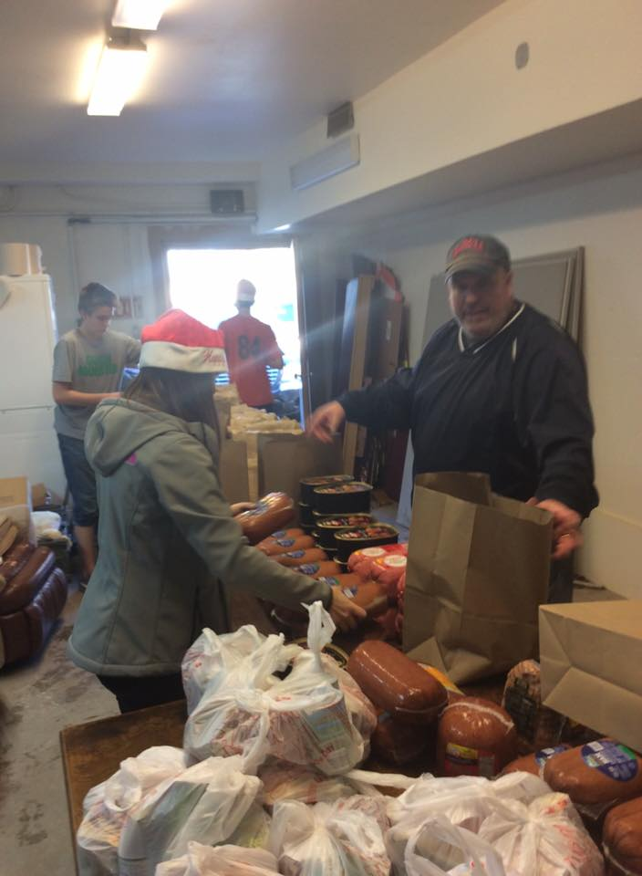 Christmas hams being distributed